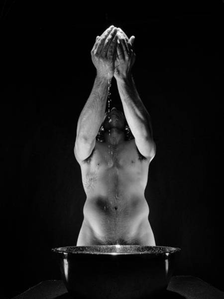 Photograph - 2048 The Offering A Black And White Male Nude  by Chris Maher