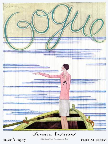Gesture Photograph - A Vintage Vogue Magazine Cover Of A Woman by Georges Lepape