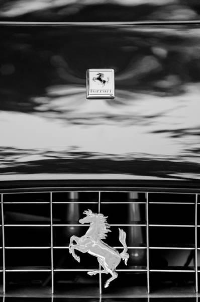 Photograph - Ferrari Emblem -0524bw by Jill Reger