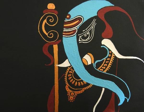 Ganesh Chaturthi Painting - 21 Mrityunjaya Ganesh by Kruti Shah