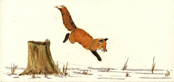Watching Painting - Red Fox by Juan  Bosco