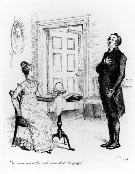Georgian Drawing - Scene From Pride And Prejudice By Jane Austen by Hugh Thomson