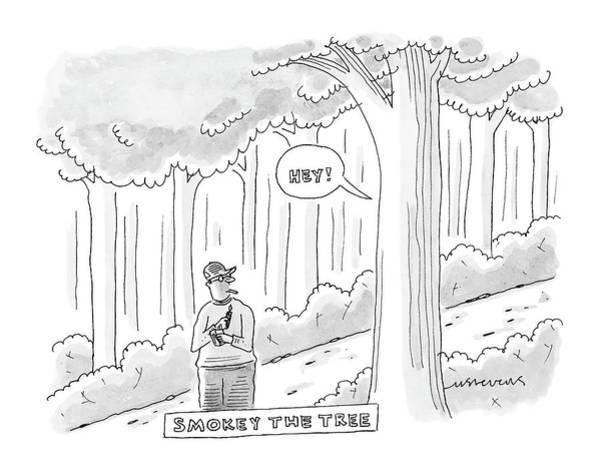 April 11th Drawing - Smokey The Tree by Mick Stevens