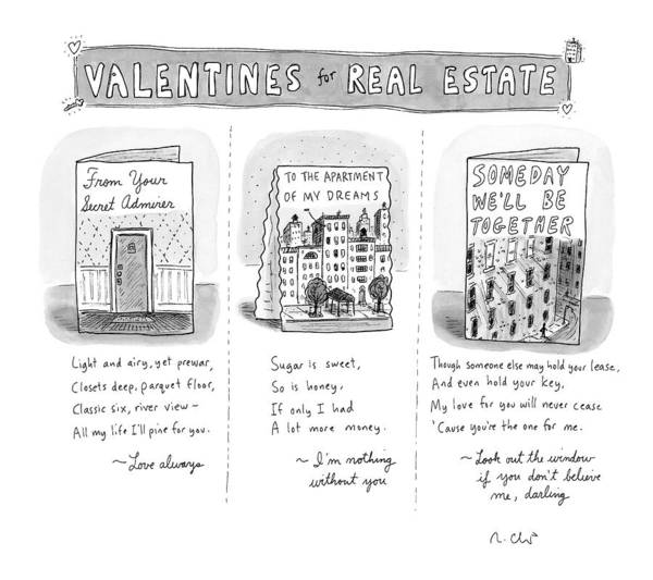 Architecture Drawing - Valentines For Real Estate by Roz Chast