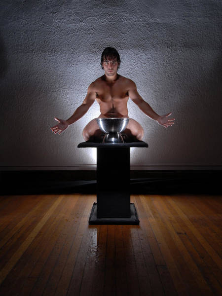 Photograph - 2162 Nude Male On Pedestal With Steel Vessel  by Chris Maher