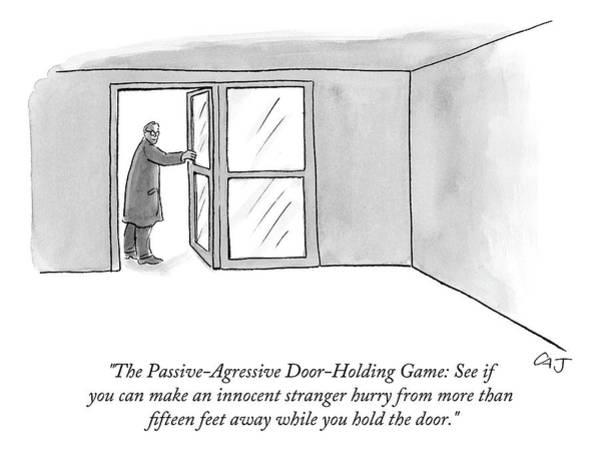 Innocence Drawing - The Passive-agressive Door-holding Game: by Carolita Johnson