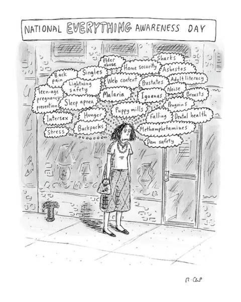 Awareness Wall Art - Drawing - New Yorker September 3rd, 2007 by Roz Chast