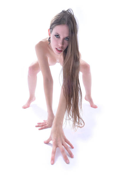 Photograph - 2282 Long Hair Nude Avonelle Cat Like Stalk  by Chris Maher