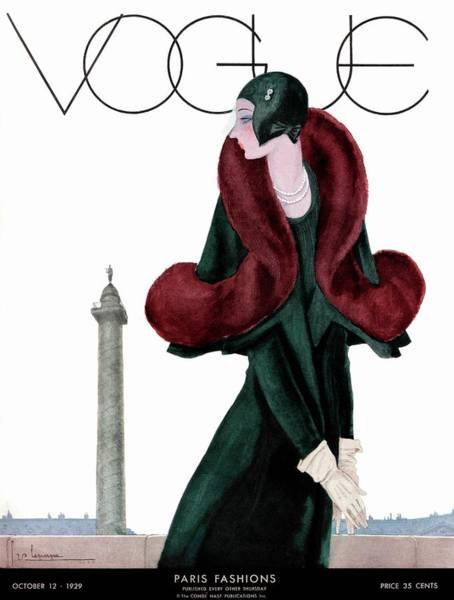 Jewelry Photograph - A Vintage Vogue Magazine Cover Of A Woman by Georges Lepape