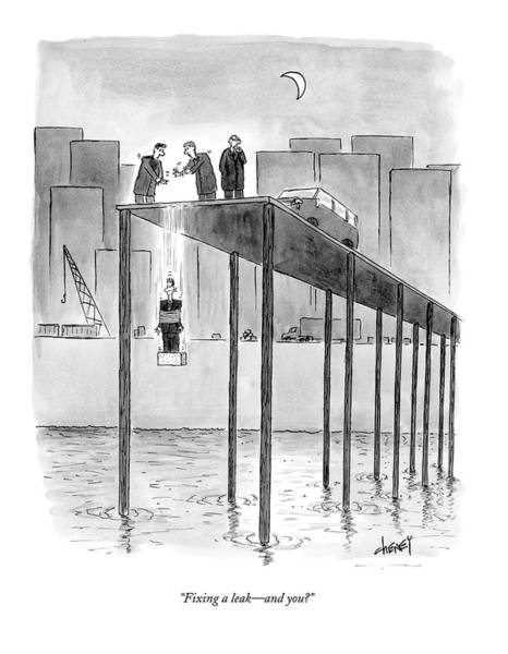 Pier Drawing - Fixing A Leak - And You? by Tom Cheney