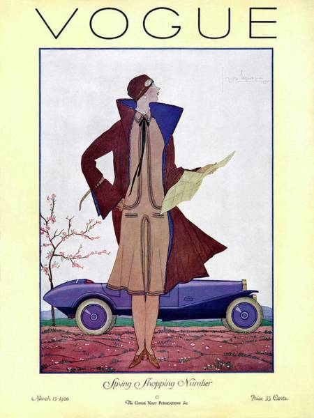 Auto Photograph - A Vintage Vogue Magazine Cover Of A Woman by Georges Lepape