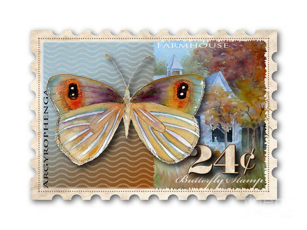 Painting - 24 Cent Butterfly Stamp by Amy Kirkpatrick