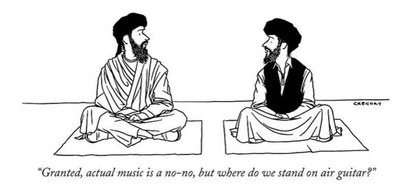 Religion Drawing - Granted, Actual Music Is A No-no, But Where by Alex Gregory