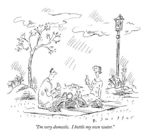 Picnics Drawing - I'm Very Domestic.  I Bottle My Own Water by Barbara Smaller
