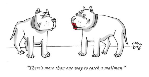Flirting Drawing - There's More Than One Way To Catch A Mailman by Farley Katz