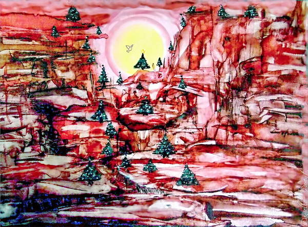 Painting - 25 Christmas Trees In The Red Canyon by Danielle  Parent