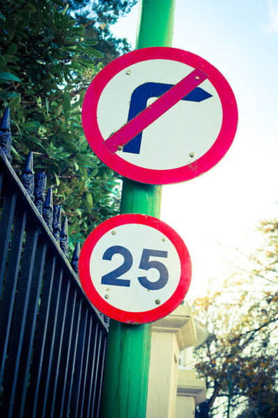 Code Photograph - 25 Mph Road Sign by Tom Gowanlock