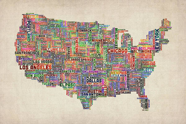 Wall Art - Digital Art - United States Typography Text Map by Michael Tompsett