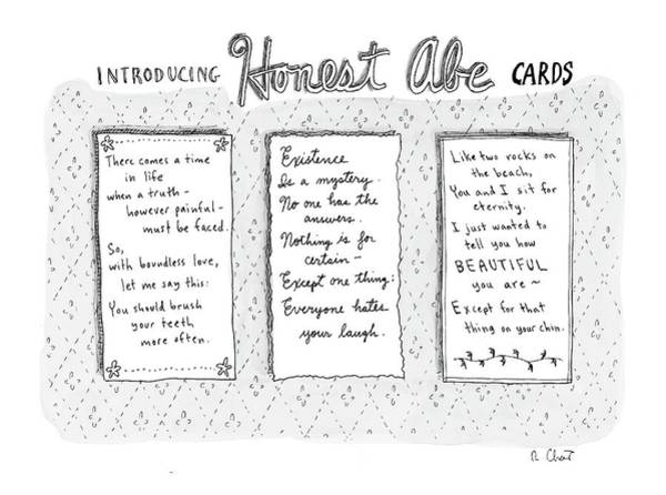 Celebrities Drawing - Introducing Honest Abe Cards by Roz Chast