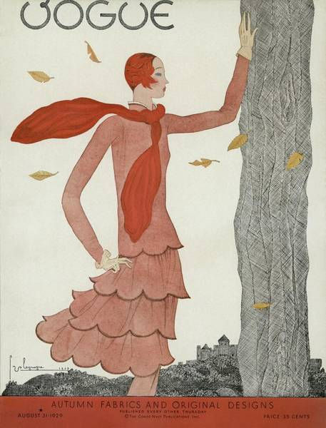 Season Photograph - A Vintage Vogue Magazine Cover Of A Woman by Georges Lepape