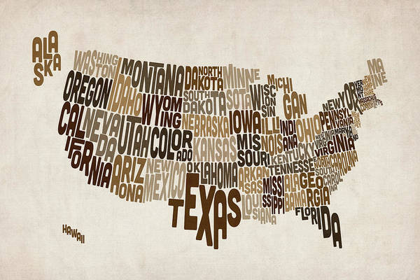 Digital Art - United States Typography Text Map by Michael Tompsett