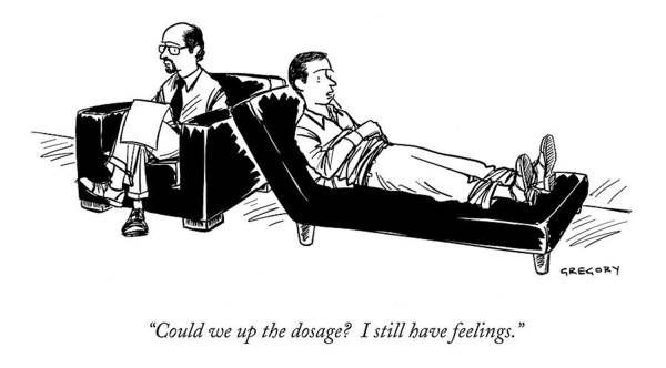 Couch Wall Art - Drawing - Could We Up The Dosage?  I Still Have Feelings by Alex Gregory