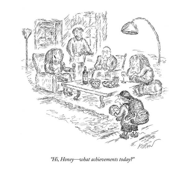 Competition Drawing - Hi, Honey - What Achievements Today? by Edward Koren