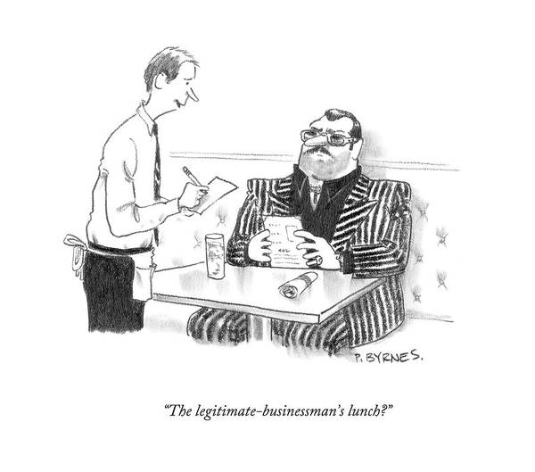 Lunch Drawing - The Legitimate-businessman's Lunch? by Pat Byrnes