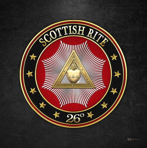 Digital Art - 26th Degree - Prince Of Mercy Or Scottish Trinitarian Jewel On Black Leather by Serge Averbukh