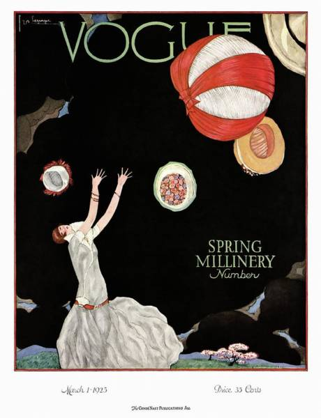 Text Photograph - A Vintage Vogue Magazine Cover Of A Woman by Georges Lepape
