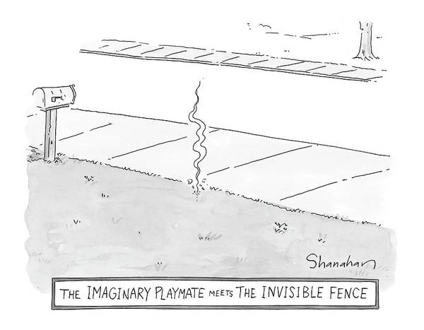 Front Yard Drawing - The Imaginary Playmate Meets The Invisible Fence by Danny Shanahan
