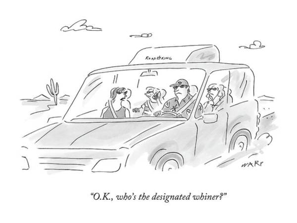 Road Trip Drawing - O.k., Who's The Designated Whiner? by Kim Warp