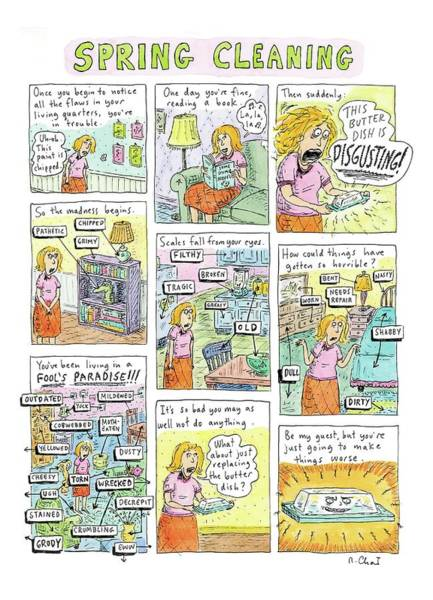 House Drawing - Spring Cleaning by Roz Chast