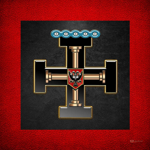 Digital Art - 27th Degree Mason - Knight Of The Sun Or Prince Adept Masonic Jewel  by Serge Averbukh