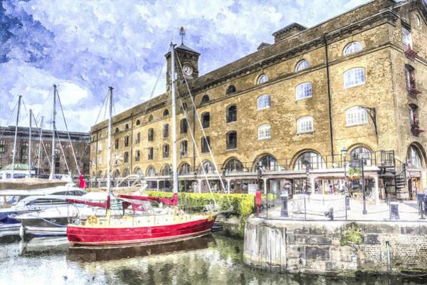 Speed Boat Digital Art - St Katherines Dock London by David Pyatt