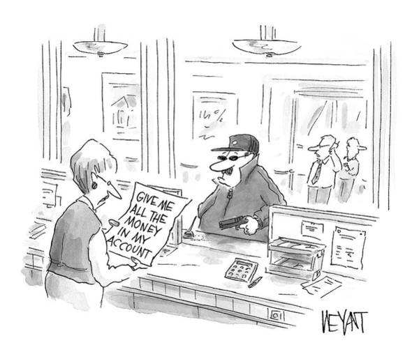 Bank Drawing - New Yorker August 4th, 2008 by Christopher Weyant