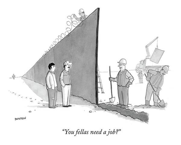 Wall Drawing - You Fellas Need A Job? by Jason Patterson