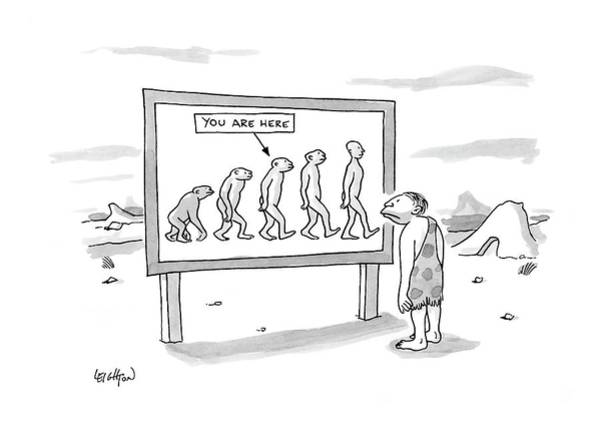 Evolution Wall Art - Drawing - New Yorker December 25th, 2006 by Robert Leighton