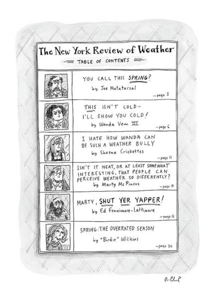 April 11th Drawing - New Yorker April 11th, 2005 by Roz Chast