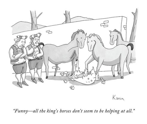 Horse Drawing - Funny - All The King's Horses Don't Seem by Zachary Kanin