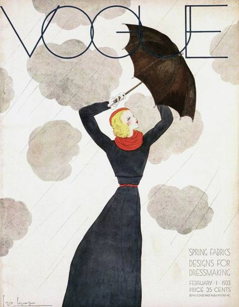 Scarf Wall Art - Photograph - A Vintage Vogue Magazine Cover Of A Woman by Georges Lepape