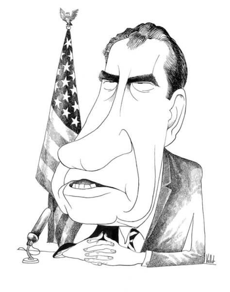 Drawing - Richard Nixon Caricature by Edmund Valtman