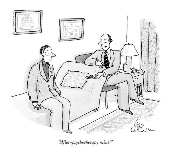 Drawing - After-psychotherapy Mint? by Leo Cullum