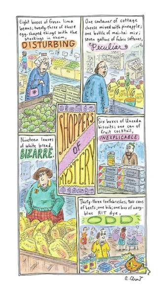 Habit Drawing - Captionless: Shoppers Of Mystery by Roz Chast