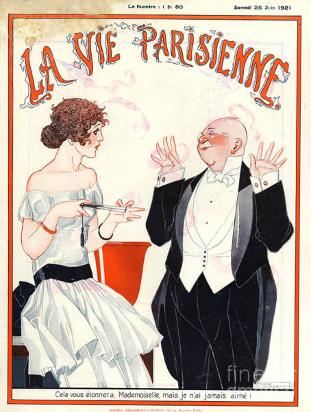 Flirting Drawing - 1920s France La Vie Parisienne Magazine by The Advertising Archives