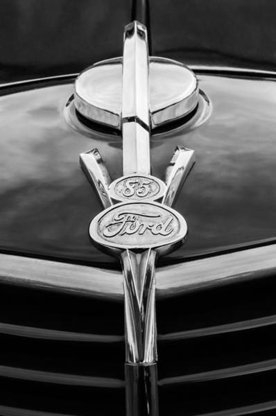 Old Truck Photograph - 1937 Ford Pickup Truck V8 Emblem by Jill Reger