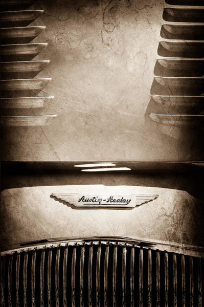 Photograph - 1956 Austin-healey 100m Bn2 'factory' Le Mans Competition Roadster Hood Emblem by Jill Reger