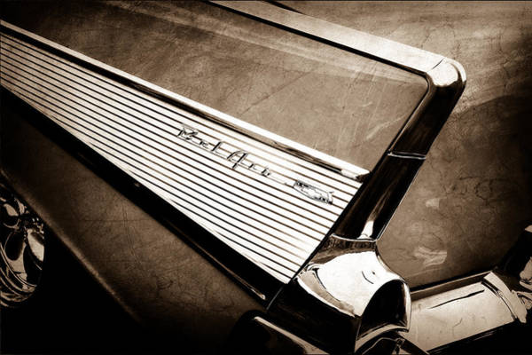 Convertible Photograph - 1957 Chevrolet Belair Convertible Taillight Emblem by Jill Reger