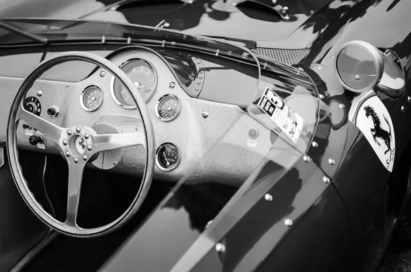 Vintage Ferrari Photograph - 1962 Ferrari 196 Sp Dino Fantuzzi Spyder Steering Wheel Emblem by Jill Reger