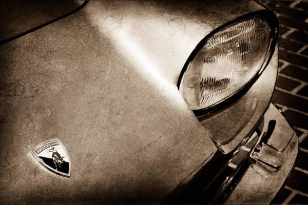 Photograph - 1965 Lamborghini 350 Gt Hood Emblem by Jill Reger